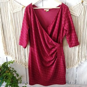 ModCloth Fervour Flecked Red Surplice Dress 2X